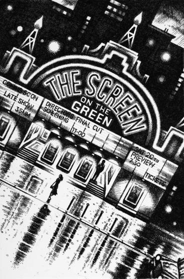 John Duffin RE Film Noir - The Screen on the Green etching 60 x 40cm 5/150