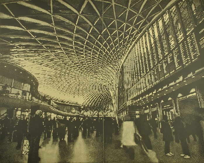 Trevor Price RE Passage of Time. Kings Cross Station drypoint & engraved relief print 85 x 100cm 2/75