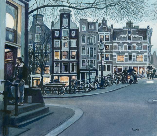 <span class=&#34;artist&#34;><strong>David Paskett PPRWS Hon. RE</strong></span>, <span class=&#34;title&#34;><em>Street Corner, Amsterdam</em></span>