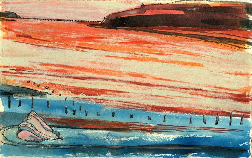 <span class=&#34;artist&#34;><strong>Julia Midgley ARWS RE</strong></span>, <span class=&#34;title&#34;><em>Caerdeon with Dog</em></span>