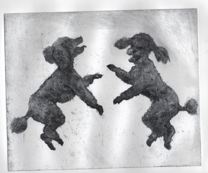 Chris Salmon ARE Poodles Rampant etching