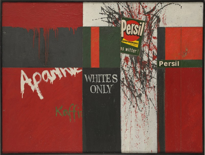 Brian Rice, Persil for Whites Only, 1961, oil, sand and collage on board, 91.4 x 120.8 cm
