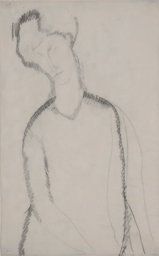 Amedeo Modigliani, Femme Assise, c. 1909, Graphite on paper, 42.6 x 26.7 cm