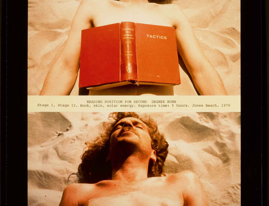 Dennis OPPENHEIM 1938 - 2011  Reading Position for Second Degree Burn, 1970  Signed and editioned 4/30 in ink on reverse  Chromogenic print (Printed 2000-2001)  59.7 x 42.5 cm  Edition 4 of 30  (DOP002)  Image: (c) Dennis Oppenheim. Courtesy Dennis Oppenheim Estate