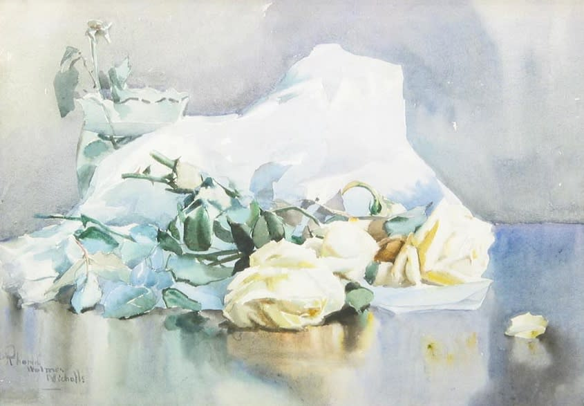 White Roses with Paper