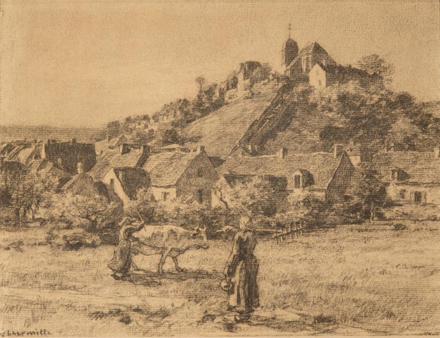 Paysannes et Vaches Devant le Village de Mont-Saint-Père