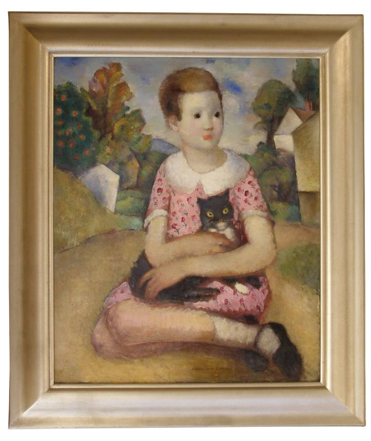 Young Girl with a Black Cat