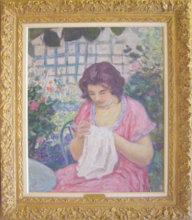Femme en Rose Cousant dans le Jardin