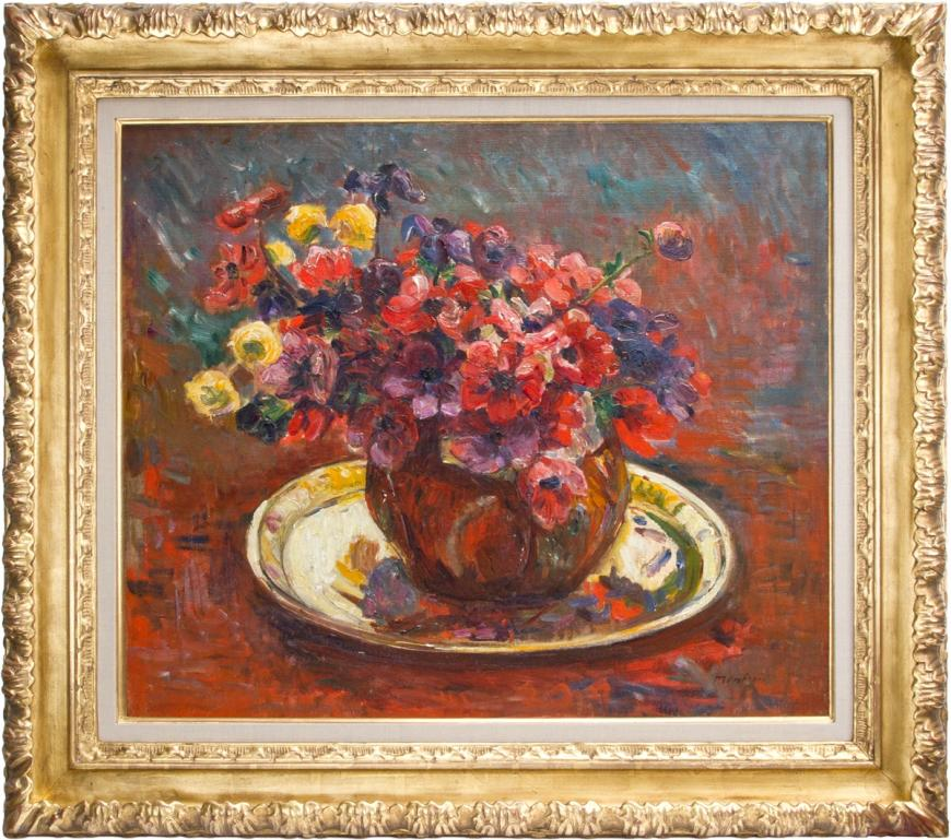 Floral Still Life with Brass Platter