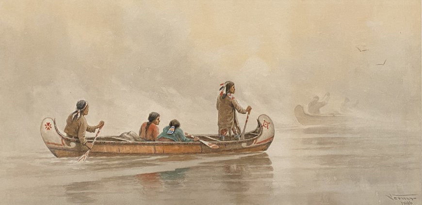 Misty Morning Indians Crossing a Lake