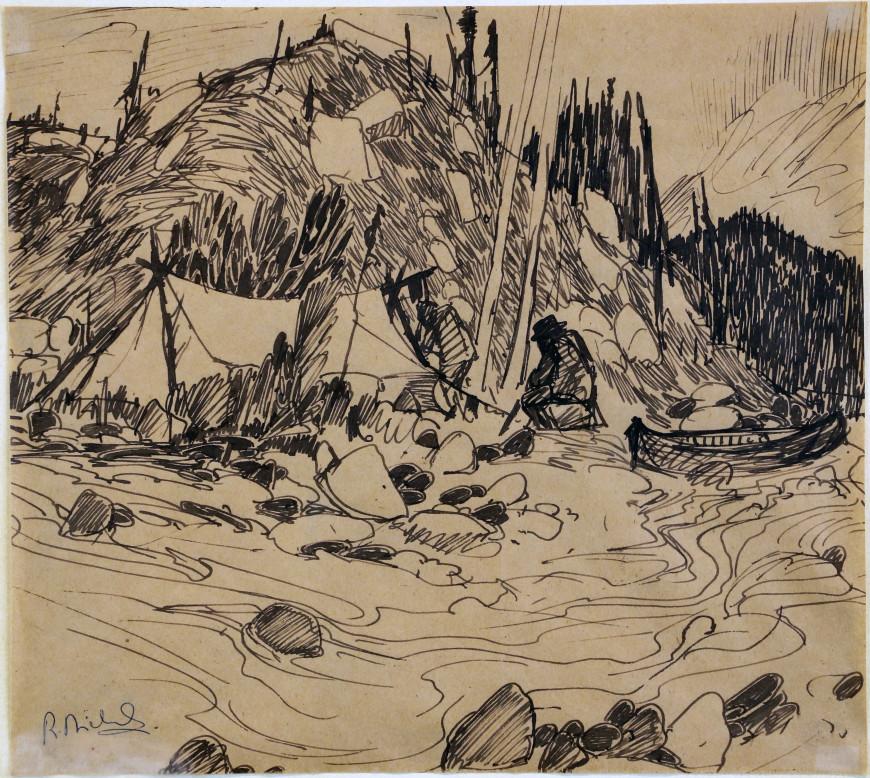 """<span class=""""artist""""><strong>René Richard</strong></span>, <span class=""""title""""><em>Encampement du trappeur</em>, 1981</span>"""