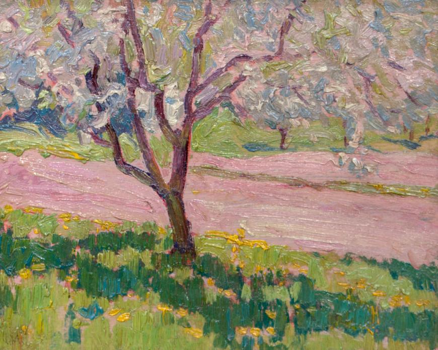 "<span class=""artist""><strong>J.E.H. MacDonald</strong></span>, <span class=""title""><em>Apple Blossom, York Mills</em>, 1919 (circa)</span>"