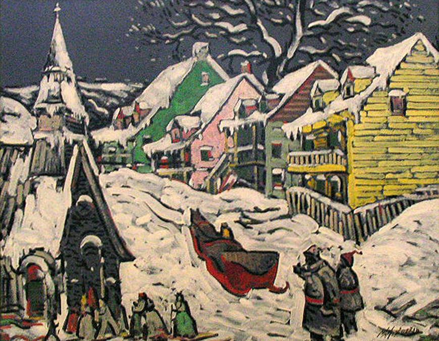 """<span class=""""artist""""><strong>Marc-Aurèle Fortin, A.R.C.A.</strong></span>, <span class=""""title""""><em>Village à Québec en hiver</em></span>"""