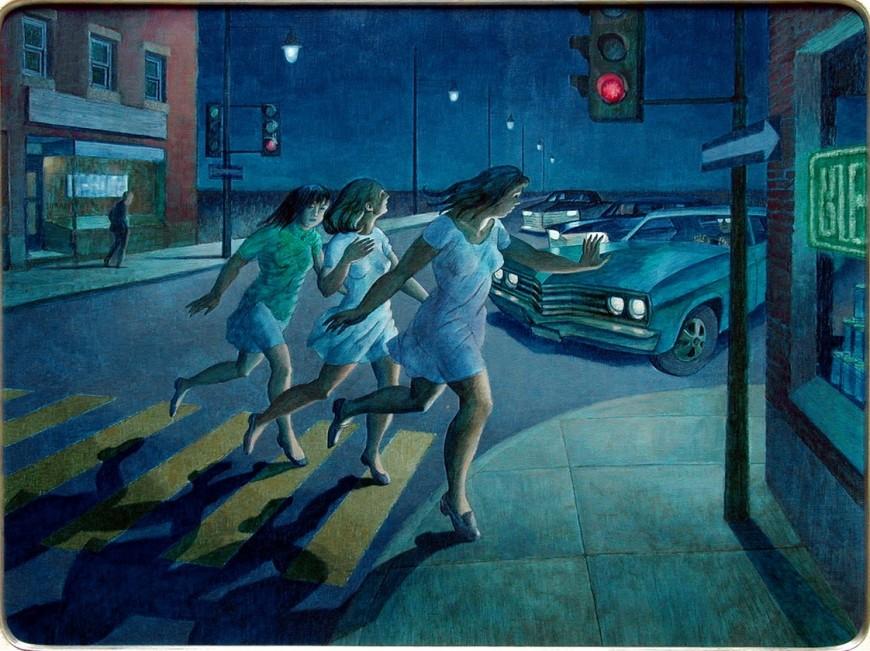 """<span class=""""artist""""><strong>Philip Surrey, C.M., LL.D., R.C.A.</strong></span>, <span class=""""title""""><em>Trois filles menaces par une automobile</em>, 1969</span>"""