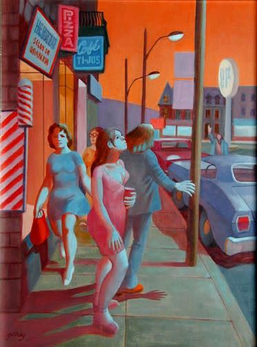 """<span class=""""artist""""><strong>Philip Surrey, C.M., LL.D., R.C.A.</strong></span>, <span class=""""title""""><em>End of Summer (Fairmount Street near Park Avenu) - Fin de l'été (Rue Fairmount près de l'avenue du Parc)</em>, 1974</span>"""