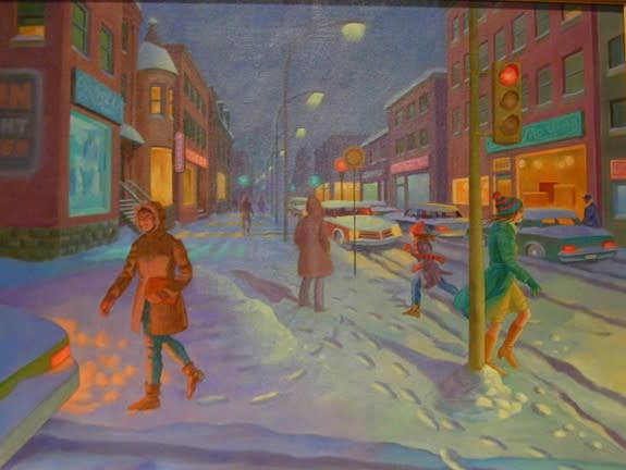 """<span class=""""artist""""><strong>Philip Surrey, C.M., LL.D., R.C.A.</strong></span>, <span class=""""title""""><em>Evening Snow - Neige en soirée</em>, 1980</span>"""