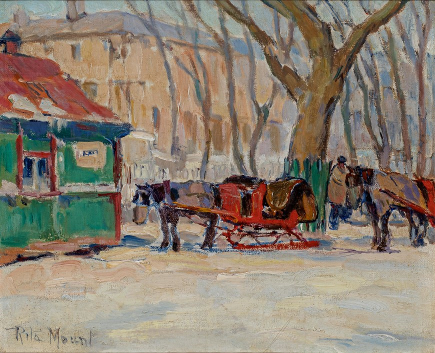 Poste de cochers, rue Sherbrooke (Cab Stand, Sherbrooke Street at McGill University)
