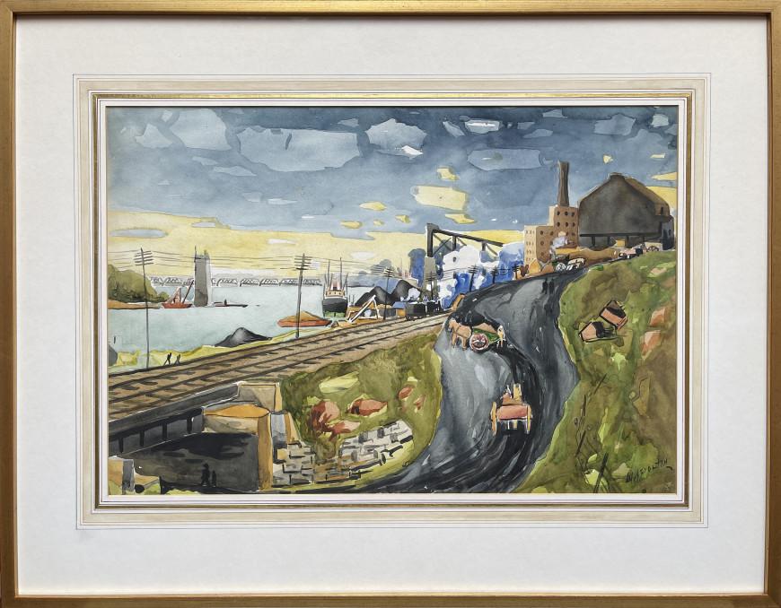 Le port (Hochelaga, the Jacques-Cartier Bridge under construction)