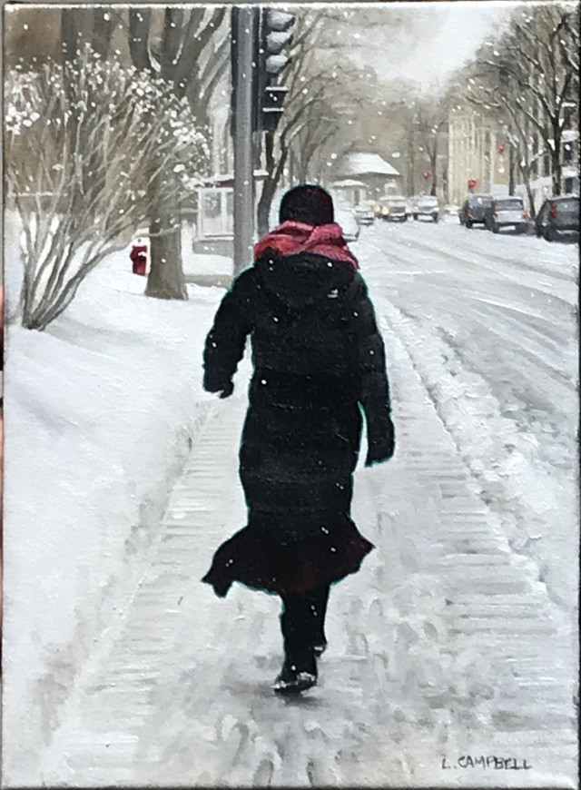 Sherbrooke St. West in Winter (Woman with a Pink Scarf)
