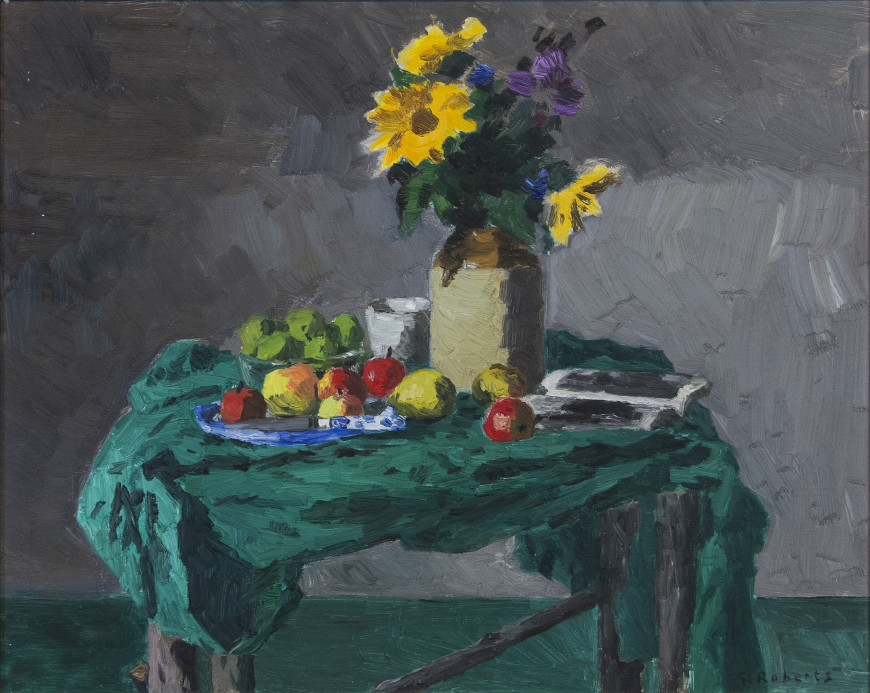 Still Life of Flowers, Apples and Green Cloth