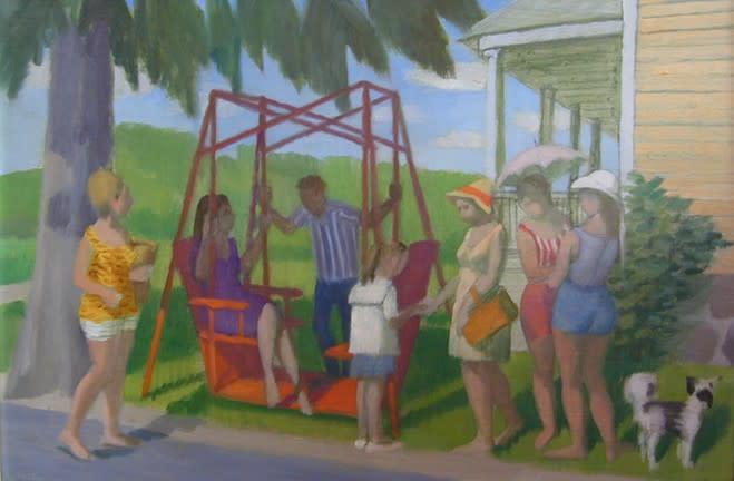 """<span class=""""artist""""><strong>Philip Surrey, C.M., LL.D., R.C.A.</strong></span>, <span class=""""title""""><em>Young Women from the Village - Les demoiselles du village</em>, 1967</span>"""