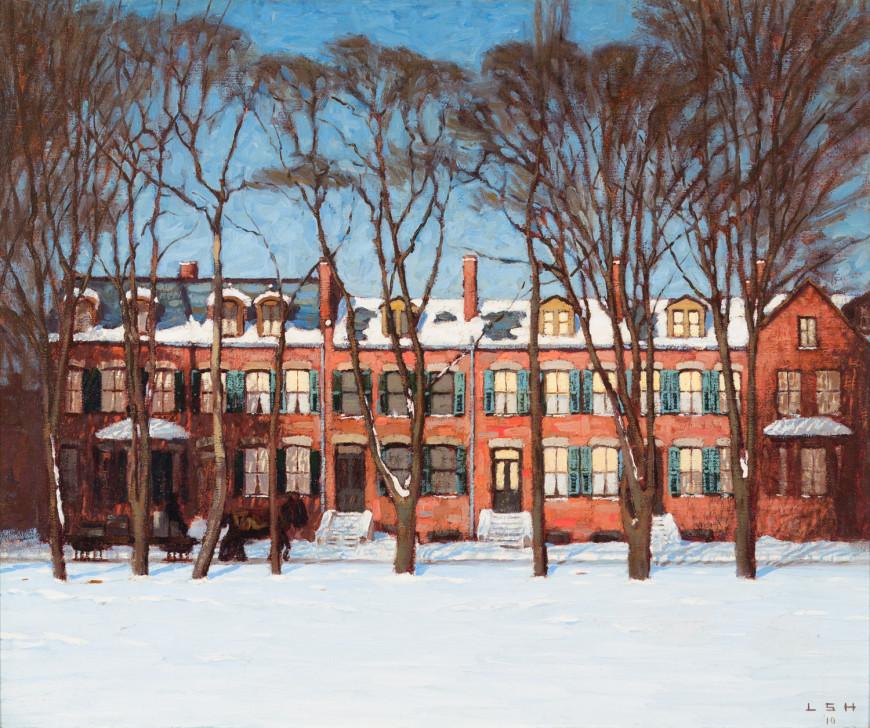 "<span class=""artist""><strong>Lawren S. Harris</strong></span>, <span class=""title""><em>A Row of Houses, Wellington Street (Street Painting I)</em>, 1910</span>"