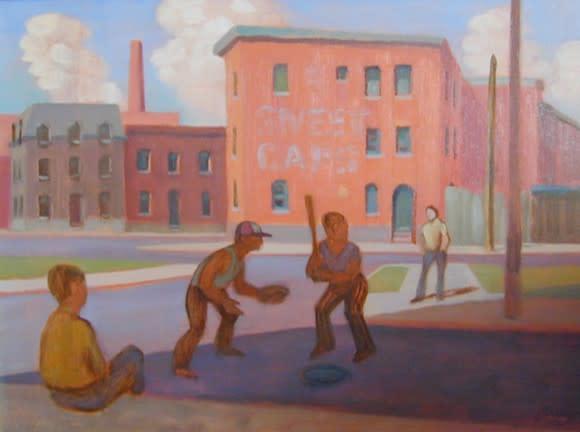 "<span class=""artist""><strong>Philip Surrey, C.M., LL.D., R.C.A.</strong></span>, <span class=""title""><em>Baseball in St. Henri - Baseball à St-Henri</em>, 1952</span>"