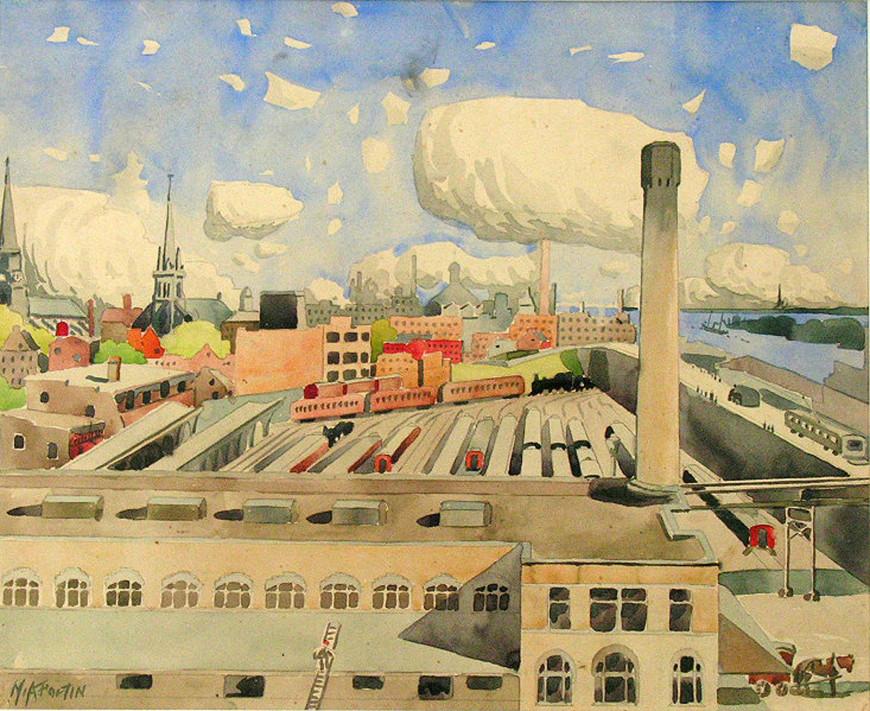 """<span class=""""artist""""><strong>Marc-Aurèle Fortin, A.R.C.A.</strong></span>, <span class=""""title""""><em>Vue sur Montréal et la canal Lachine</em>, 1930</span>"""