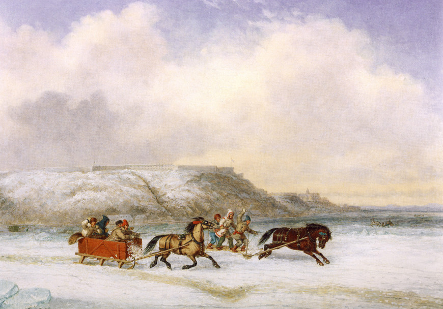 Sleigh Race on the St. Lawrence at Quebec - Course de traîneau sur le fleuve St-Laurent à Québec