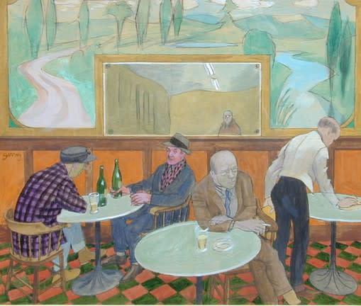 "<span class=""artist""><strong>Philip Surrey, C.M., LL.D., R.C.A.</strong></span>, <span class=""title""><em>Tavern Interior - Intérior d'une taverne</em></span>"