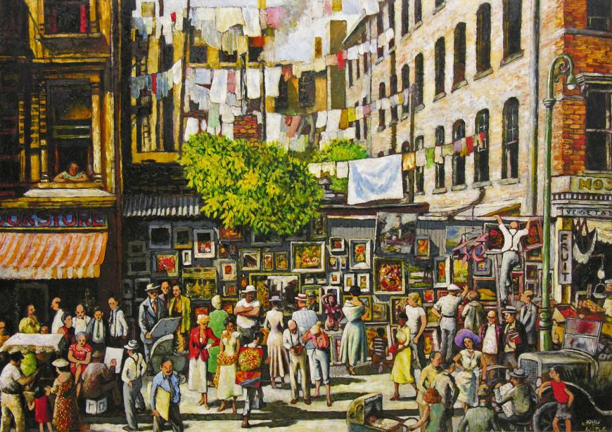 Outdoor Art Exhibition near Washington Square, New York - Exposition de peintures en plein air, près de Washington Square, New York