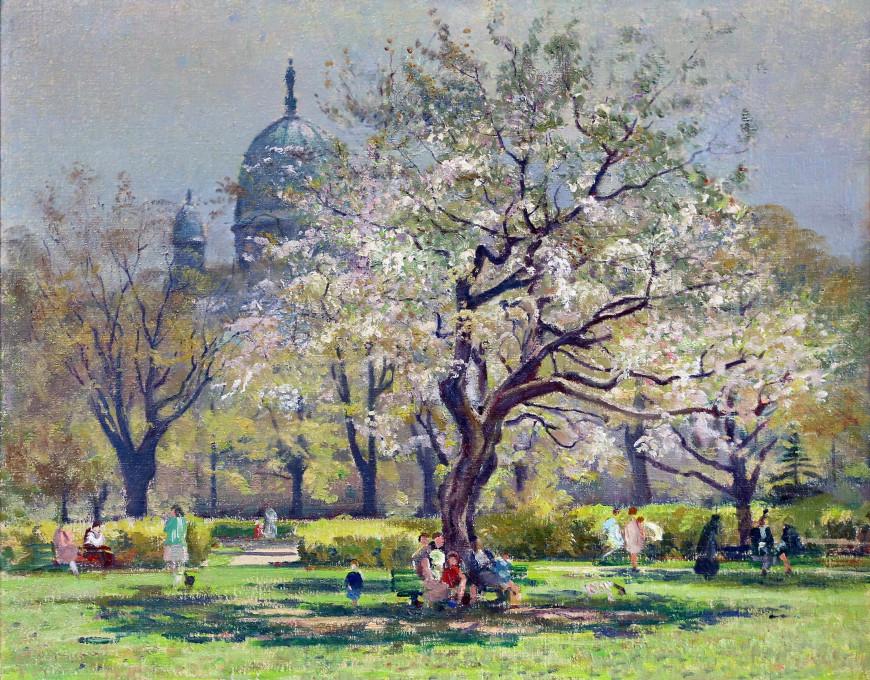 """<span class=""""artist""""><strong>Robert Pilot</strong></span>, <span class=""""title""""><em>Queen Elizabeth Gardens, Montreal</em>, 1940 (circa)</span>"""