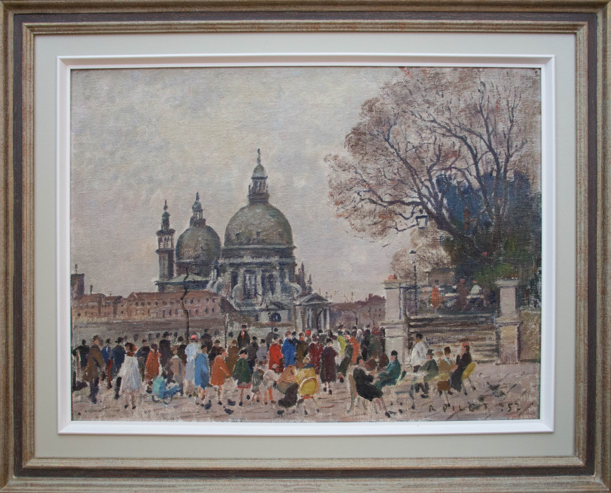 Cafe, View of Santa Maria della Salute from Piazza San Marco