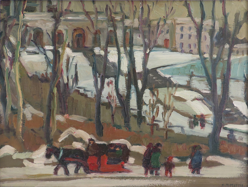 Street Scene, Montreal (Horse and Sleigh In front of St. Joseph's Oratory)