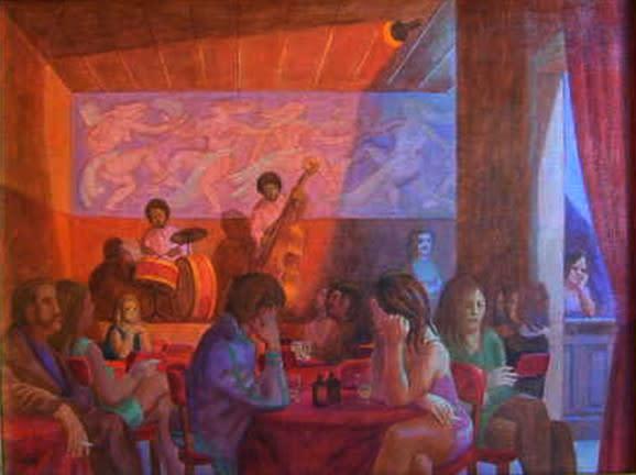 """<span class=""""artist""""><strong>Philip Surrey, C.M., LL.D., R.C.A.</strong></span>, <span class=""""title""""><em>Le Café La Bohème</em>, 1972</span>"""