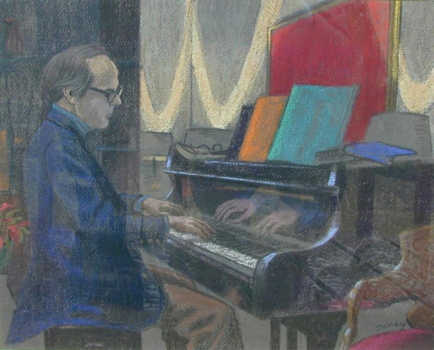 "<span class=""artist""><strong>Philip Surrey, C.M., LL.D., R.C.A.</strong></span>, <span class=""title""><em>Gilles Corbeil at the Piano - Gilles Corbeil au piano</em>, 1977 (circa)</span>"