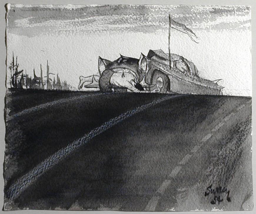 """<span class=""""artist""""><strong>Philip Surrey, C.M., LL.D., R.C.A.</strong></span>, <span class=""""title""""><em>Study for Impaled Man - Étude pour homme écorné</em>, 1954</span>"""