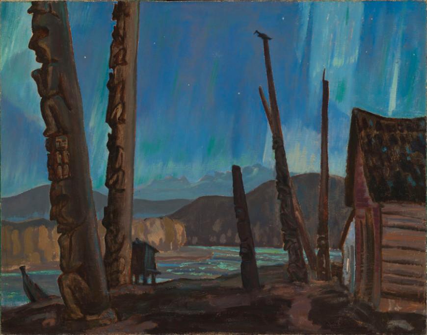 Night on the Skeena River / Totem Poles, Hazelton, B.C.