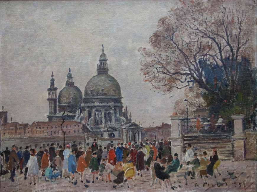 """<span class=""""artist""""><strong>Robert Pilot</strong></span>, <span class=""""title""""><em>Cafe, View of Santa Maria della Salute from Piazza San Marco</em>, 1957</span>"""