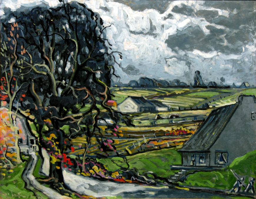 """<span class=""""artist""""><strong>Marc-Aurèle Fortin, A.R.C.A.</strong></span>, <span class=""""title""""><em>Village de campagne, Québec</em></span>"""
