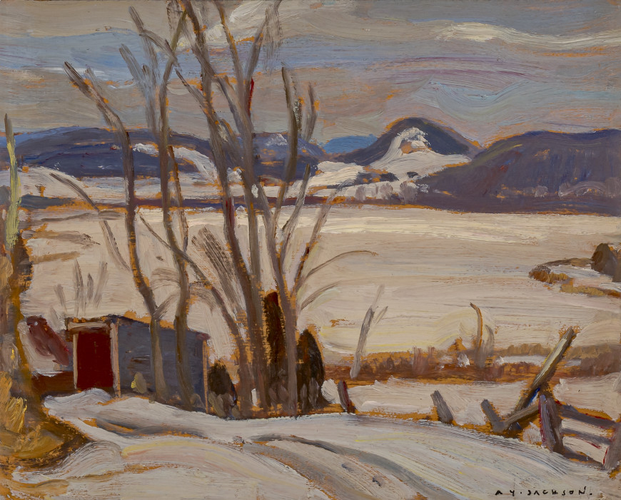 "<span class=""artist""><strong>A.Y. Jackson</strong></span>, <span class=""title""><em>Cabin by the Lake</em>, 1935 (circa)</span>"