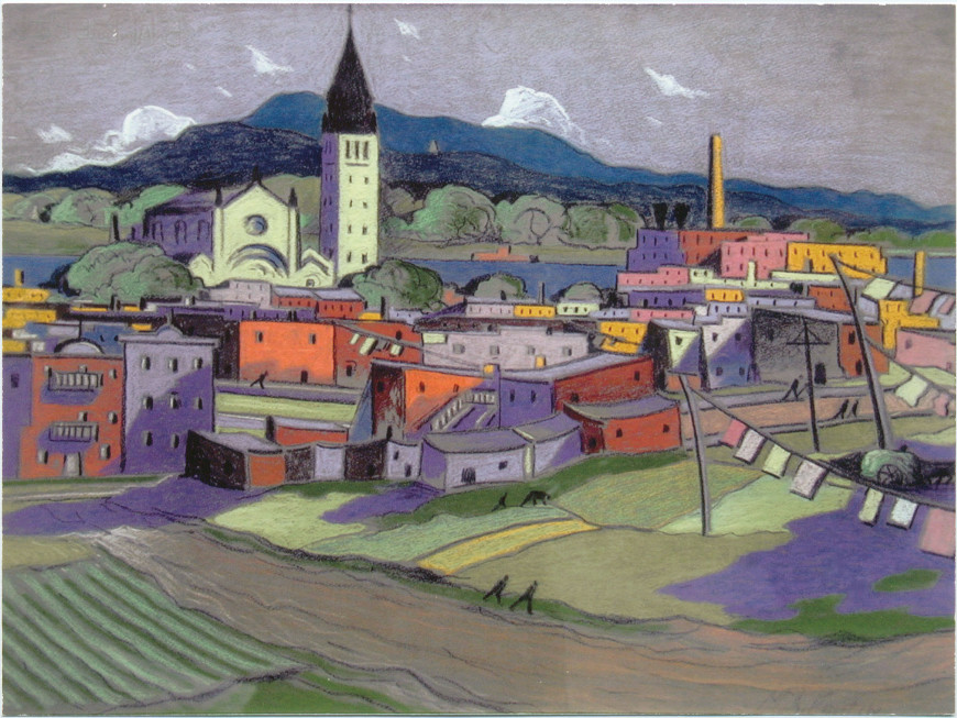 "<span class=""artist""><strong>Marc-Aurèle Fortin, A.R.C.A.</strong></span>, <span class=""title""><em>Hochelaga</em></span>"