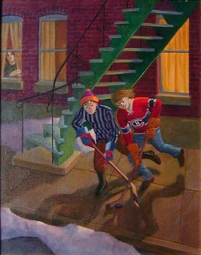 "<span class=""artist""><strong>Philip Surrey, C.M., LL.D., R.C.A.</strong></span>, <span class=""title""><em>The Hockey Players - Les joueurs de hockey</em></span>"