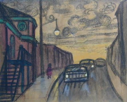 "<span class=""artist""><strong>Philip Surrey, C.M., LL.D., R.C.A.</strong></span>, <span class=""title""><em>Street Scene, St. Henri - Rue à St-Henri</em>, 1955 (circa)</span>"