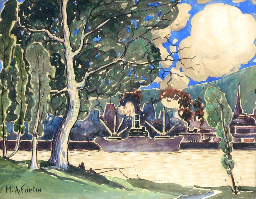 """<span class=""""artist""""><strong>Marc-Aurèle Fortin, A.R.C.A.</strong></span>, <span class=""""title""""><em>Vue de l'Île Ste-Hélène</em></span>"""