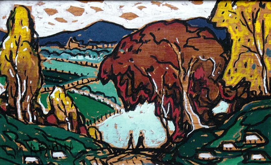 """<span class=""""artist""""><strong>Marc-Aurèle Fortin, A.R.C.A.</strong></span>, <span class=""""title""""><em>Paysage sans titre (possiblement La Fresnière)</em>, 1955 (circa)</span>"""