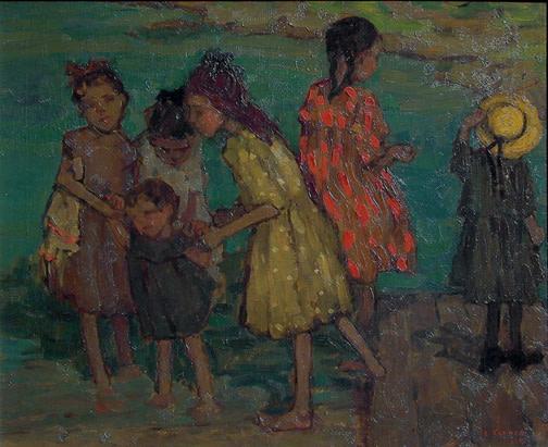 Children Playing by the Water - Des enfants jouant près du bord de l'eau