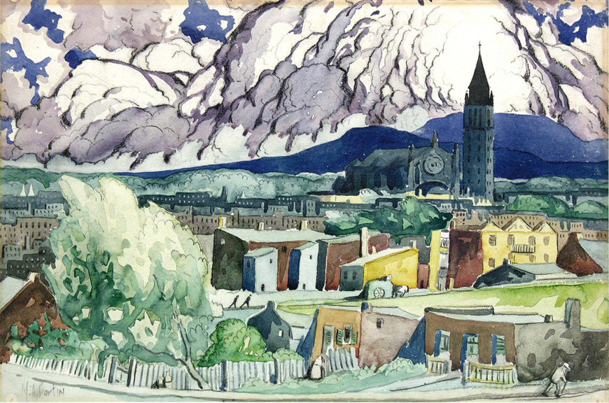 """<span class=""""artist""""><strong>Marc-Aurèle Fortin, A.R.C.A.</strong></span>, <span class=""""title""""><em>Paysage après la pluie</em></span>"""