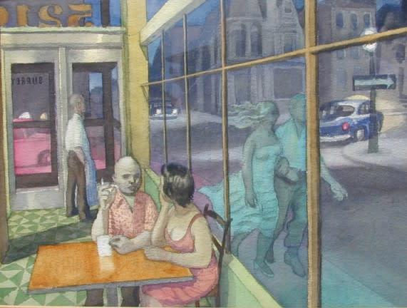 """<span class=""""artist""""><strong>Philip Surrey, C.M., LL.D., R.C.A.</strong></span>, <span class=""""title""""><em>Ben's - Restaurant Ben</em>, 1952</span>"""