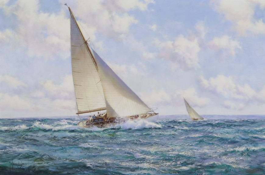 "<h3 class=""artist"">MONTAGUE DAWSON, F.R.S.A., R.S.M.A.</h3><p class=""title""><em>Gay Weather</em></p>"